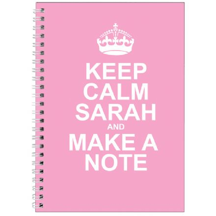 Personalised  A5 Notebook - Keep Calm Pink